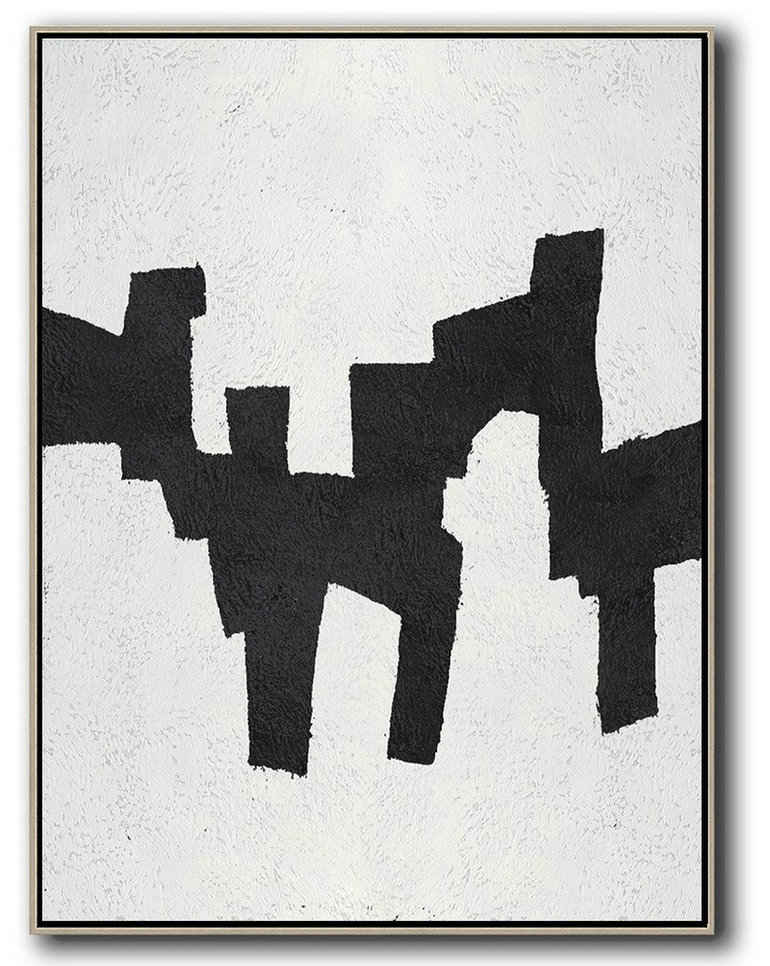 Black And White Minimal Painting On Canvas,Abstract Painting For Home #N6D8