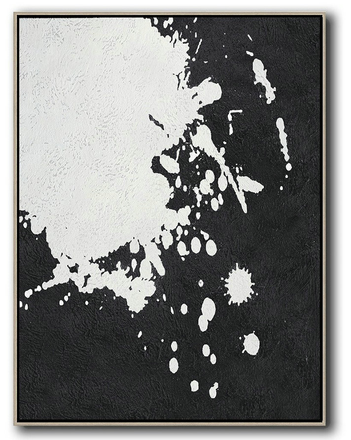 Black And White Minimal Painting On Canvas,Original Art Acrylic Painting #A6T4