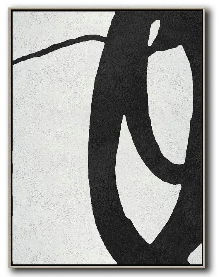 Black And White Minimal Painting On Canvas,Acrylic Painting Wall Art #F0W6