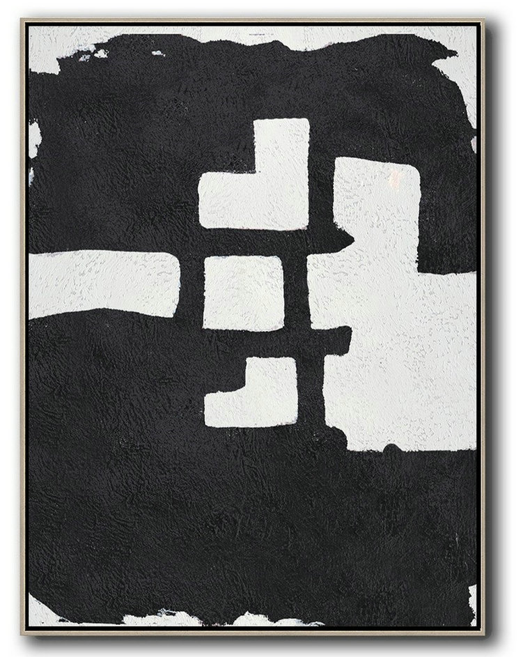 Black And White Minimal Painting On Canvas,Hand Made Original Art #Z8Z1