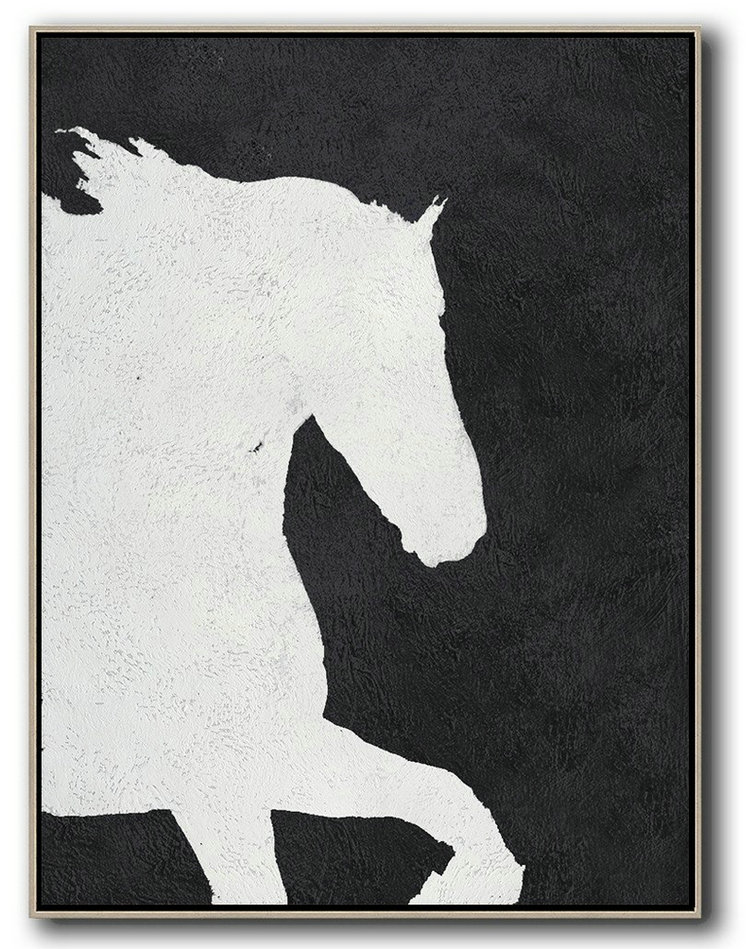 Black And White Minimal Painting On Canvas,Acrylic Painting Canvas Art #S7H4