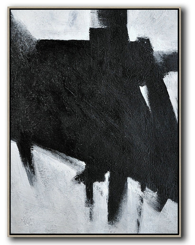 Black And White Minimal Painting On Canvas,Large Abstract Art Handmade Acrylic Painting #E1M6