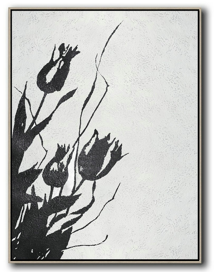 Black And White Minimal Painting On Canvas,Modern Living Room Decor #T5Q2