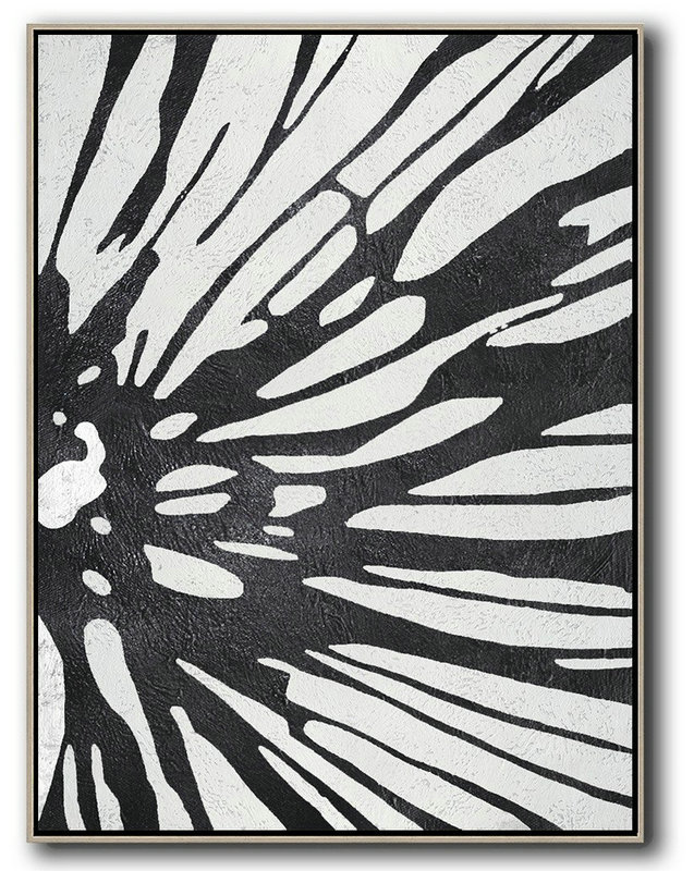 Black And White Minimal Painting On Canvas,Big Wall Art For Living Room #X3T5