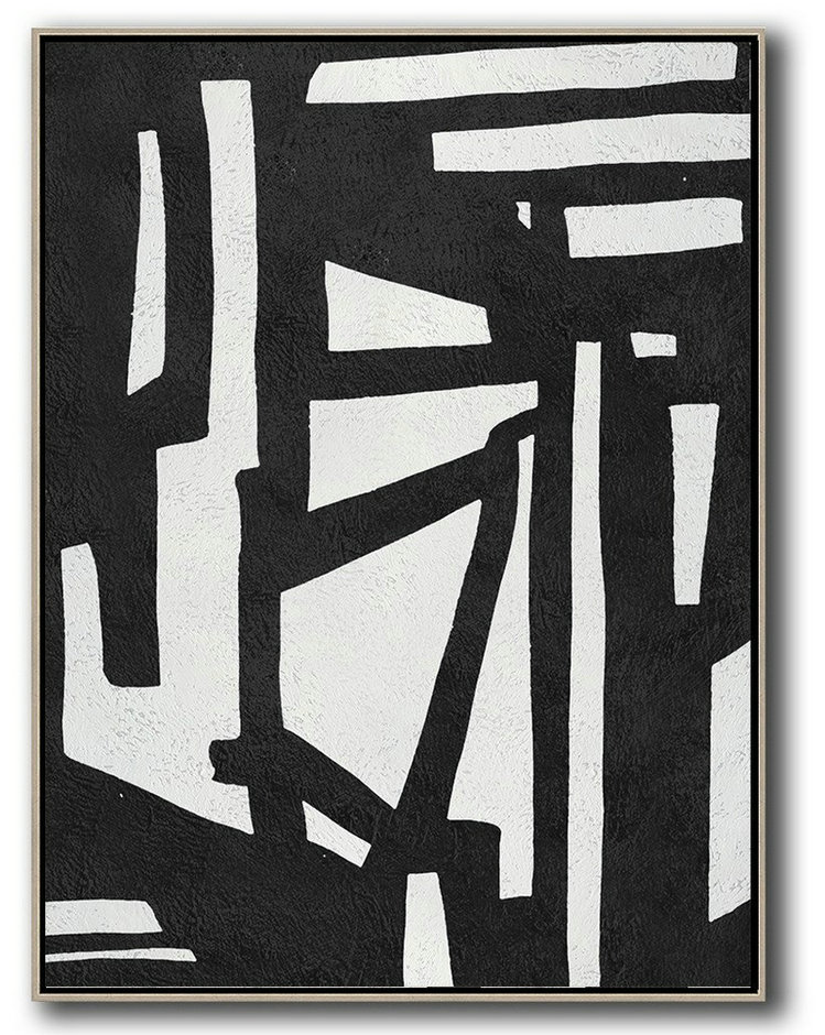 Black And White Minimal Painting On Canvas,Big Wall Art For Living Room #K0D0