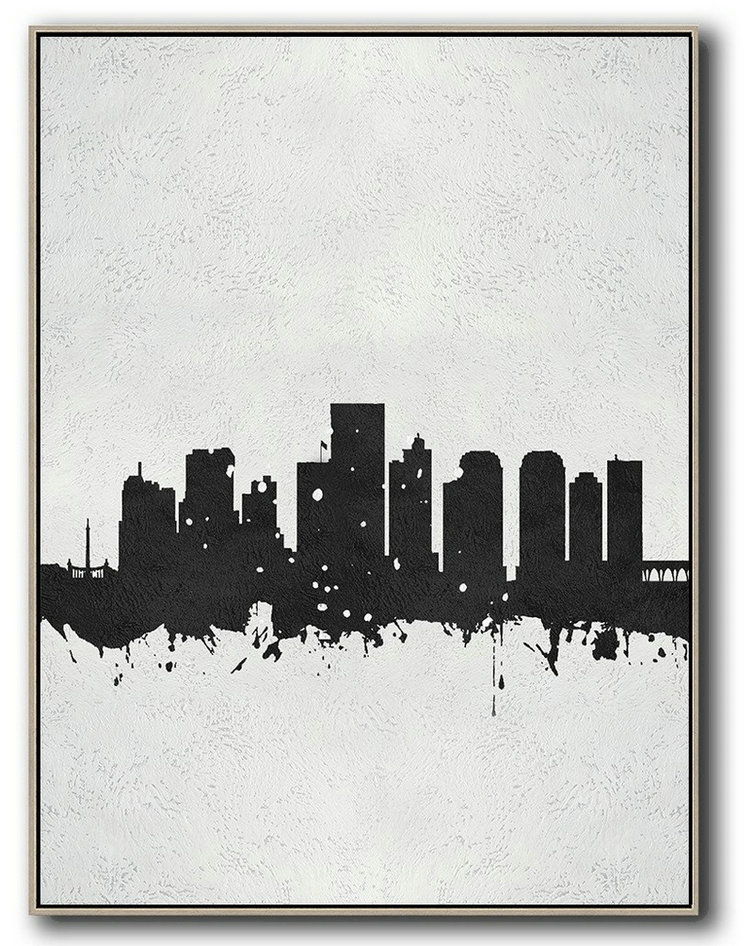 Vertical Minimal Painting On Canvas, Black And White, Richmond, Virginia Skyline,Abstract Paintings On Sale #Y8F7