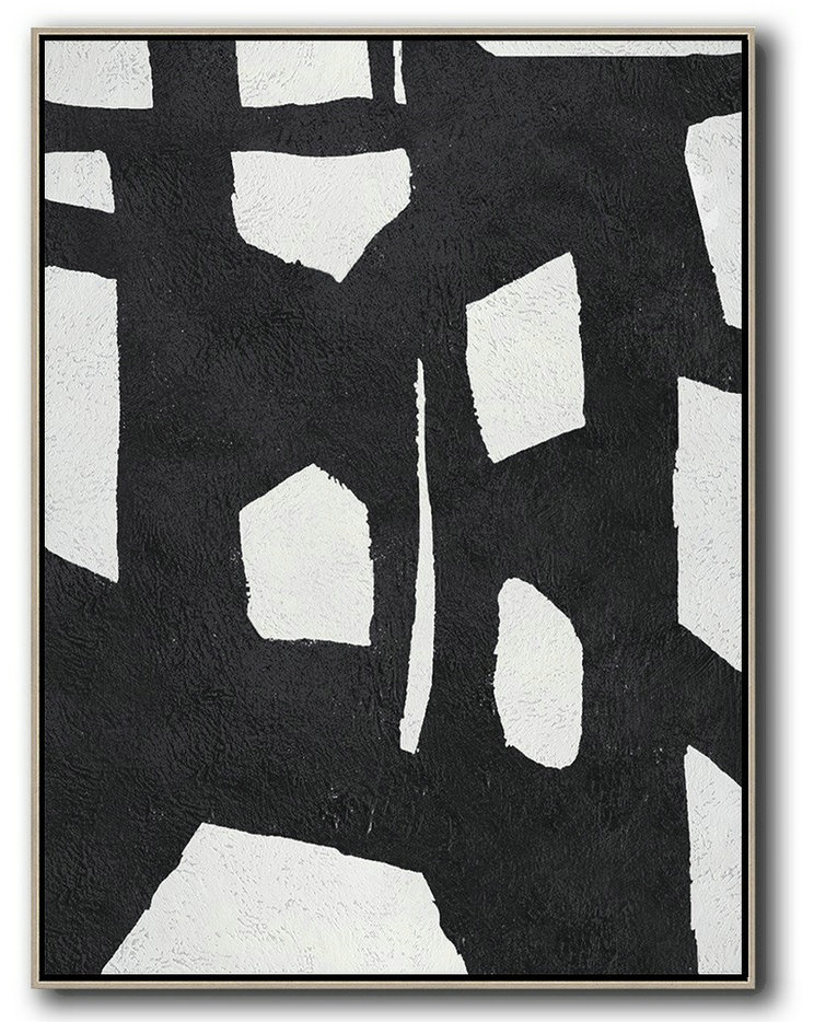 Black And White Minimal Painting On Canvas,Abstract Art Decor,Contemporary Painting #Q6N2