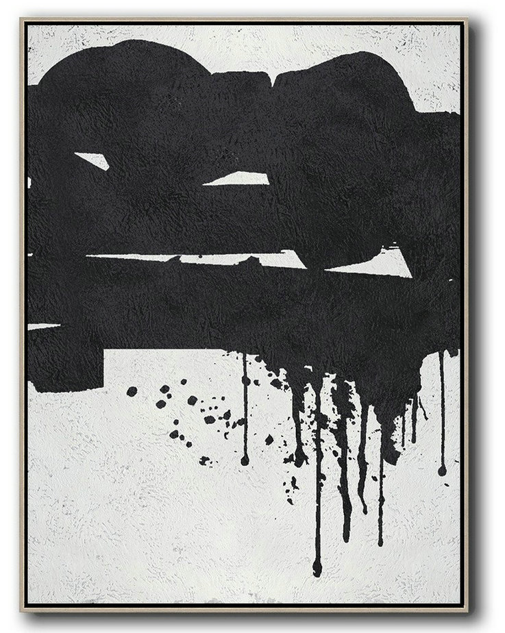 Black And White Minimal Painting On Canvas,Abstract Art Decor Large Canvas Painting #R2W6