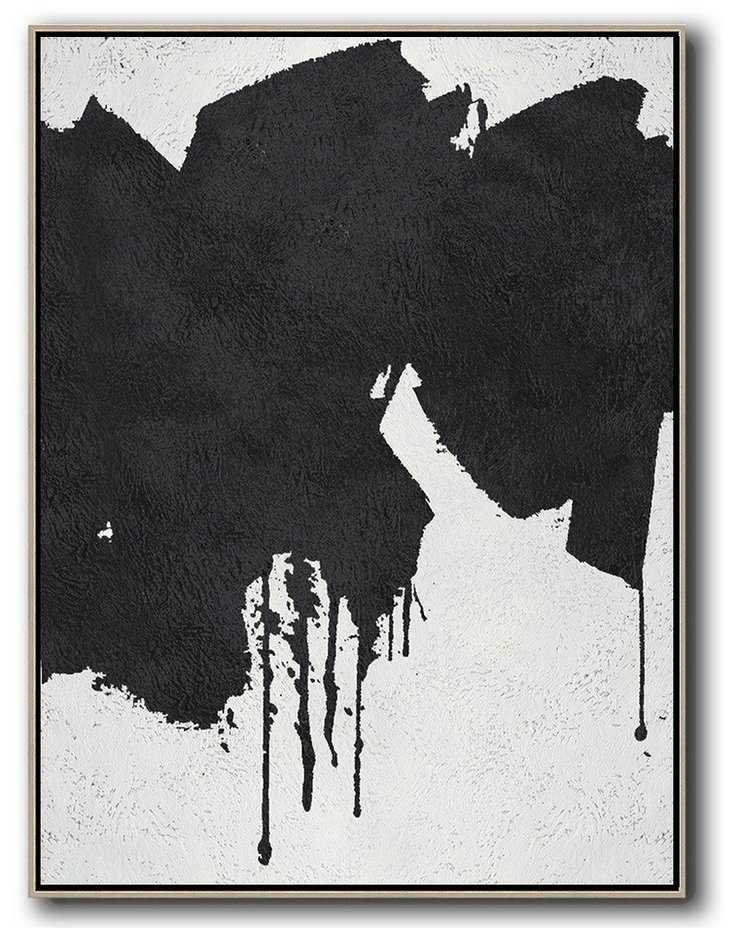 Black And White Minimal Painting On Canvas,Abstract Art On Canvas, Modern Art #N4G1