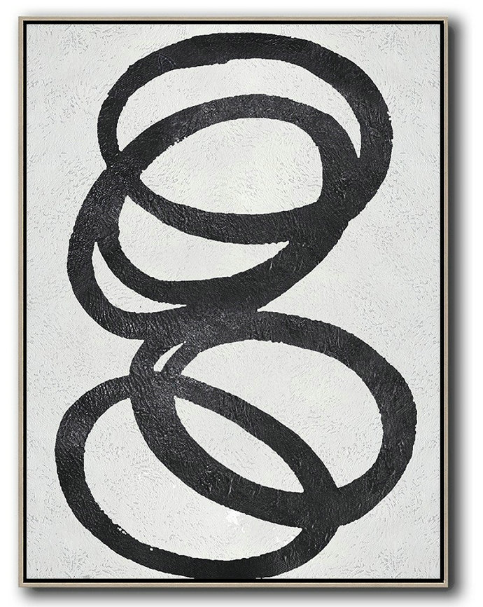 Black And White Minimal Painting On Canvas,Abstract Artwork Online #O0A5