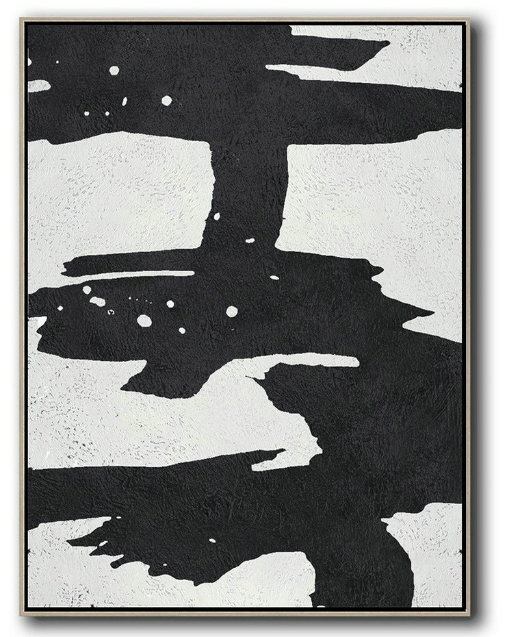 Black And White Minimal Painting On Canvas,Big Canvas Painting #F9Q7