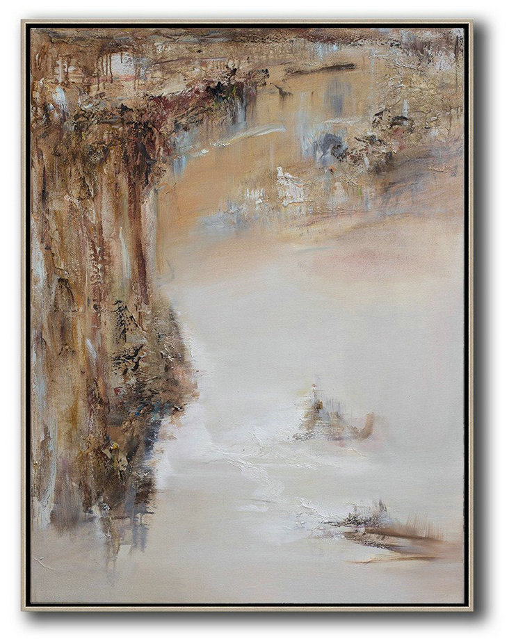 Abstract Landscape Oil Painting,Hand Paint Large Clean Modern Art Brown,White,Grey