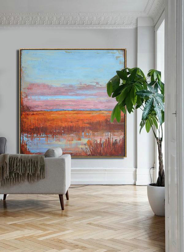 Abstract Landscape Oil Painting,Giant Canvas Wall Art Blue,Pink,Orange,Red