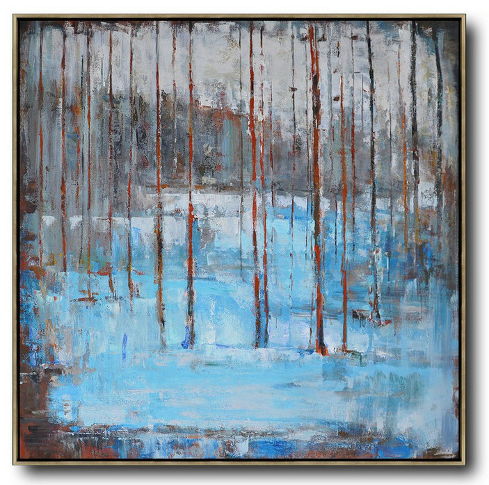 Abstract Landscape Oil Painting,Living Room Canvas Art Blue,Grey,Red,White