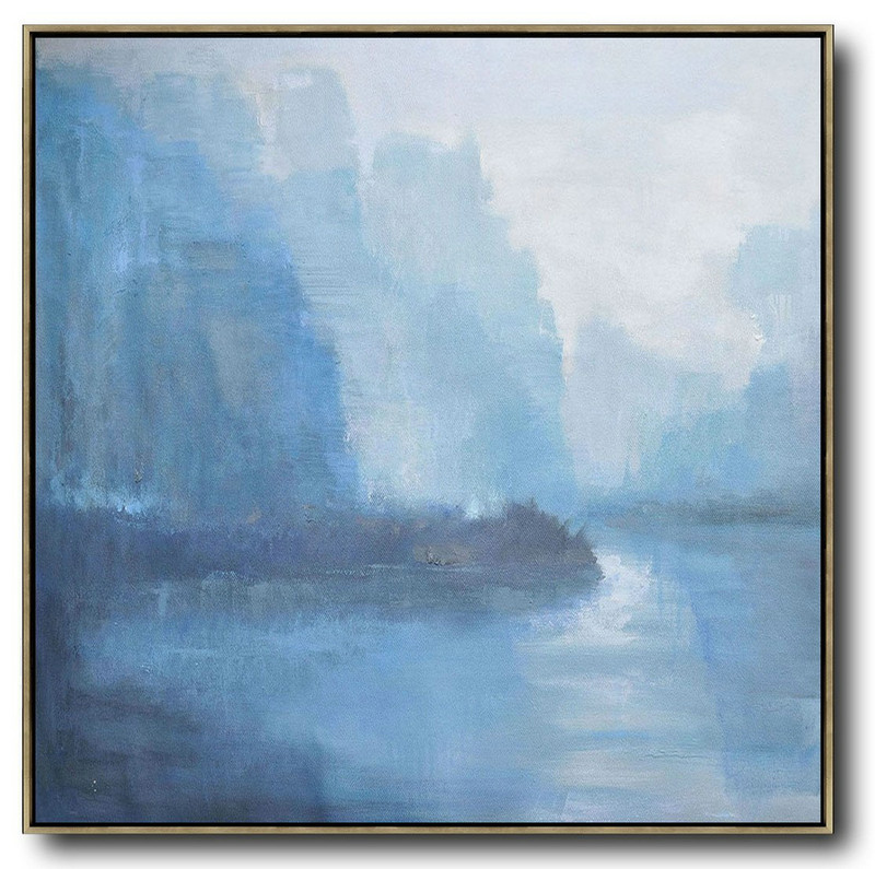 Abstract Landscape Oil Painting,Huge Abstract Canvas Art White,Blue,Purple Grey