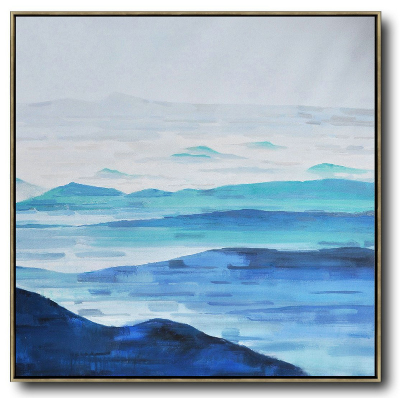 Abstract Landscape Oil Painting,Acrylic Painting Large Wall Art Grey,White,Blue