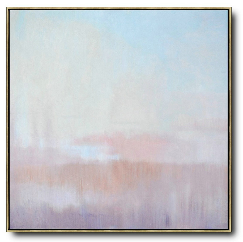 Abstract Landscape Oil Painting,Extra Large Artwork Sky Blue,Pink,Light Yellow