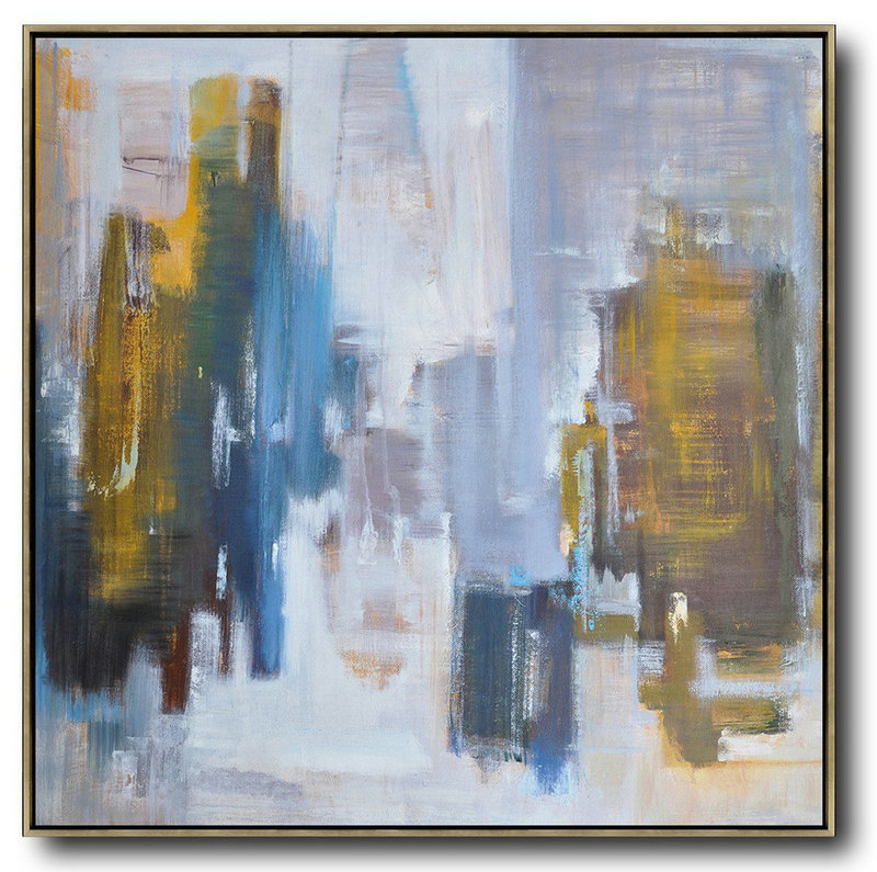 Abstract Landscape Oil Painting,Huge Canvas Art On Canvas White,Purple Grey,Yellow,Blue