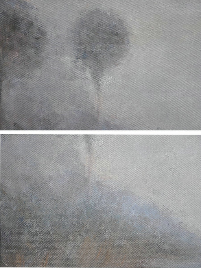 Abstract Landscape Oil Painting,Extra Large Canvas Painting Grey,White,Black