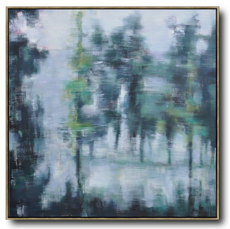 Abstract Landscape Oil Painting,Canvas Wall Paintings White,Grey,Dark Green