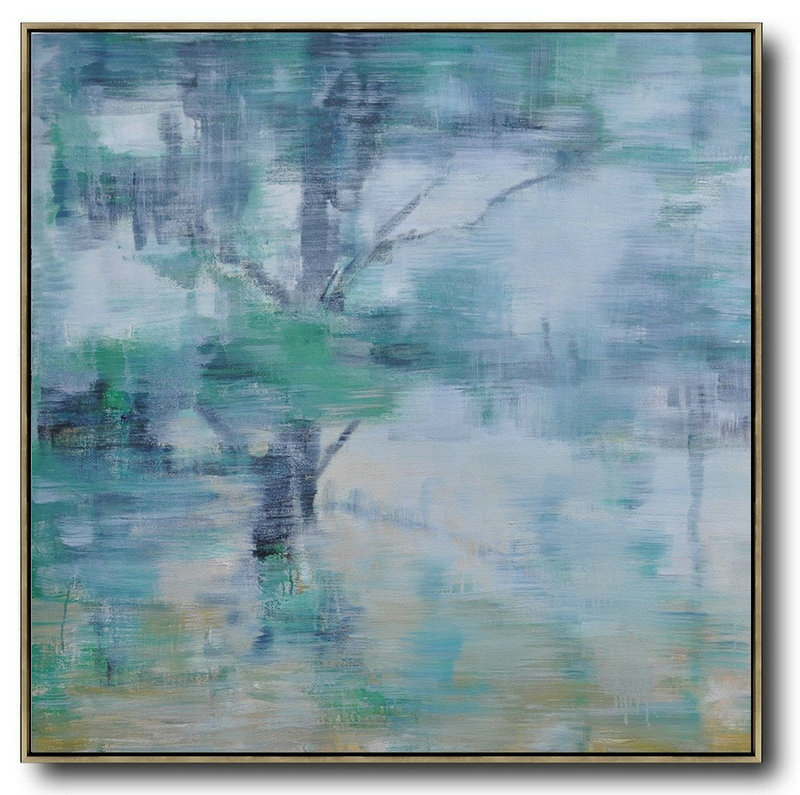 Abstract Landscape Oil Painting,Acrylic Painting On Canvas White,Grey,Green,Yellow