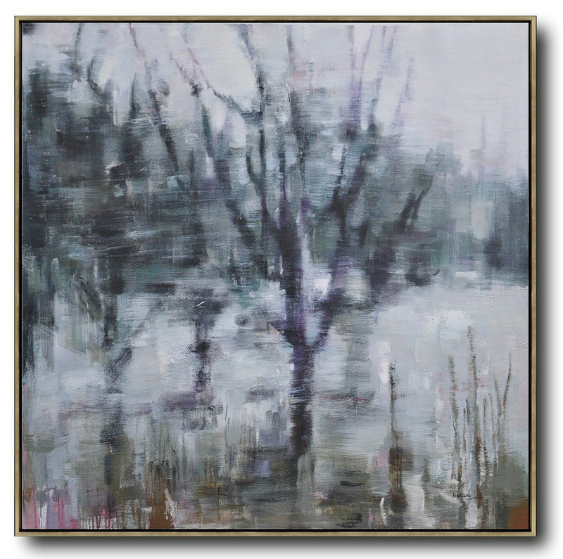 Abstract Landscape Oil Painting,Original Art Acrylic Painting White,Dark Green,Grey,Purple