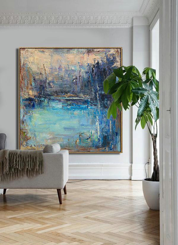 Abstract Landscape Oil Painting,Acrylic Painting Large Wall Art Yellow.Blue,Purple