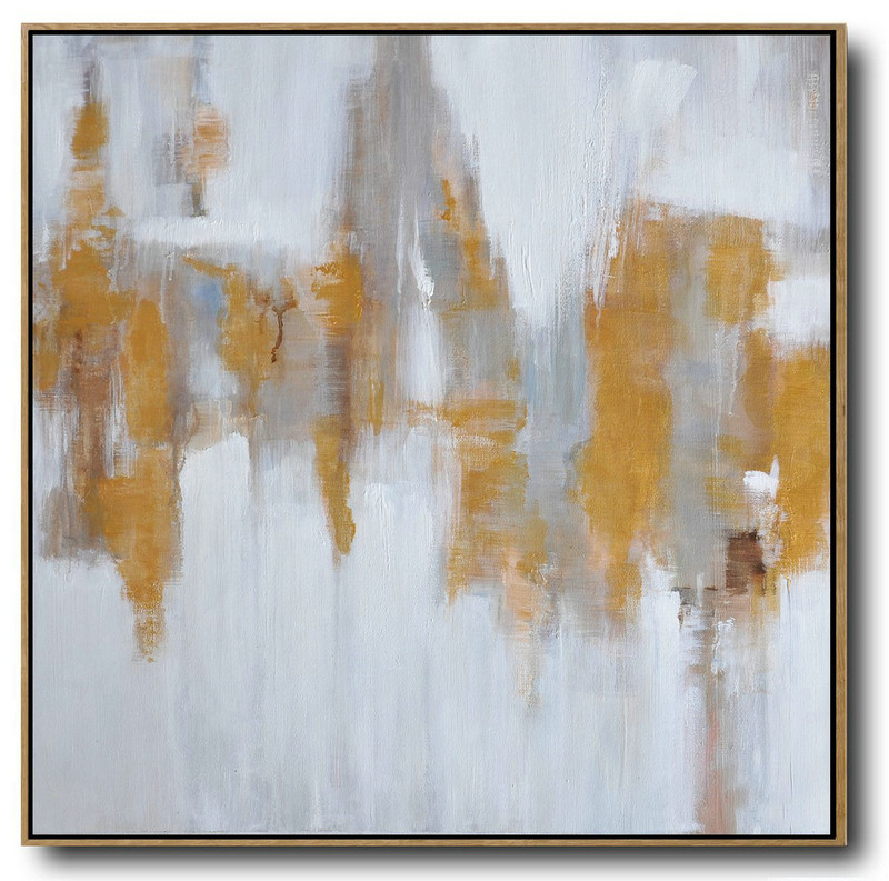 Large Abstract Landscape Oil Painting On Canvas,Giant Canvas Wall Art White,Grey,Yellow