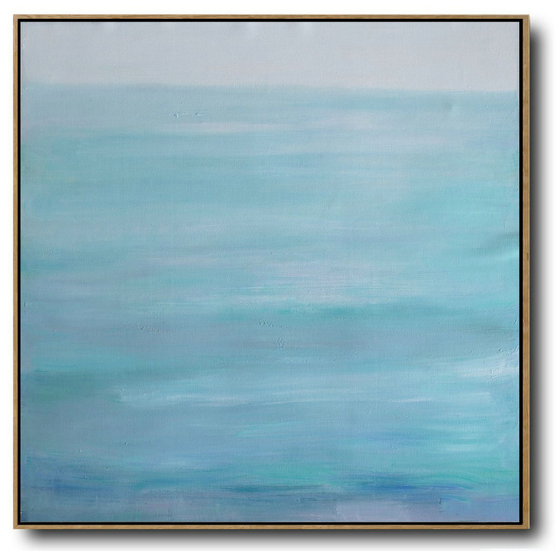 Large Abstract Landscape Oil Painting On Canvas,Oversized Custom Canvas Art Grey,Lake Blue,White