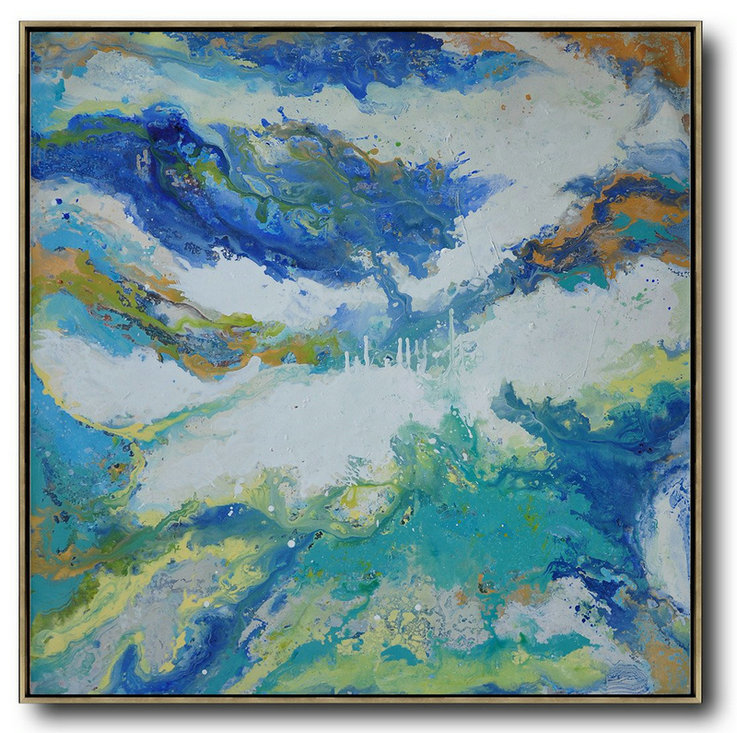 Contemporary Oil Painting,Acrylic Painting Large Wall Art White,Orange,Blue,Lake Blue