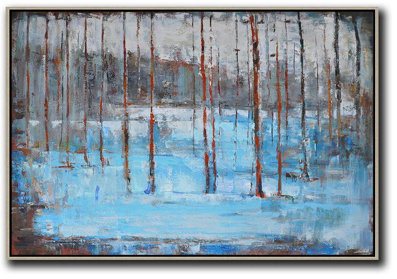 Horizontal Abstract Landscape Oil Painting On Canvas,Extra Large Paintings Blue,Grey,Red,White,Brown