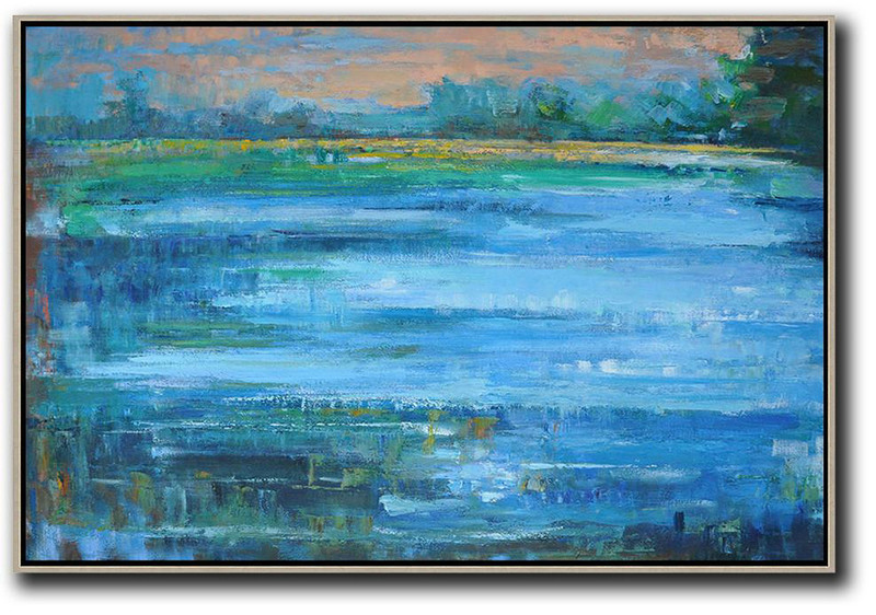 Horizontal Abstract Landscape Oil Painting On Canvas,Hand Painted Acrylic Painting Pink,Blue,Green,Yellow