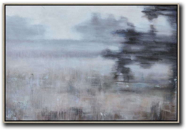 Horizontal Abstract Landscape Oil Painting On Canvas,Handmade Acrylic Painting White,Grey,Brown,Black