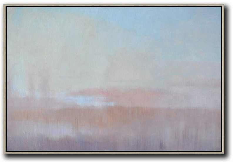 Horizontal Abstract Landscape Oil Painting On Canvas,Hand Paint Large Art Sky Blue,Light Yellow,Pink