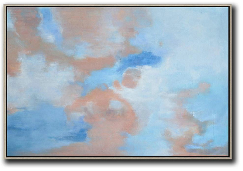 Horizontal Abstract Landscape Oil Painting On Canvas,Contemporary Art Canvas Painting Blue,Pink,White