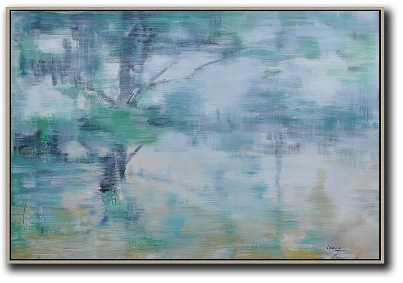 Horizontal Abstract Landscape Oil Painting On Canvas,Hand Painted Acrylic Painting Green,Light Yellow,Black