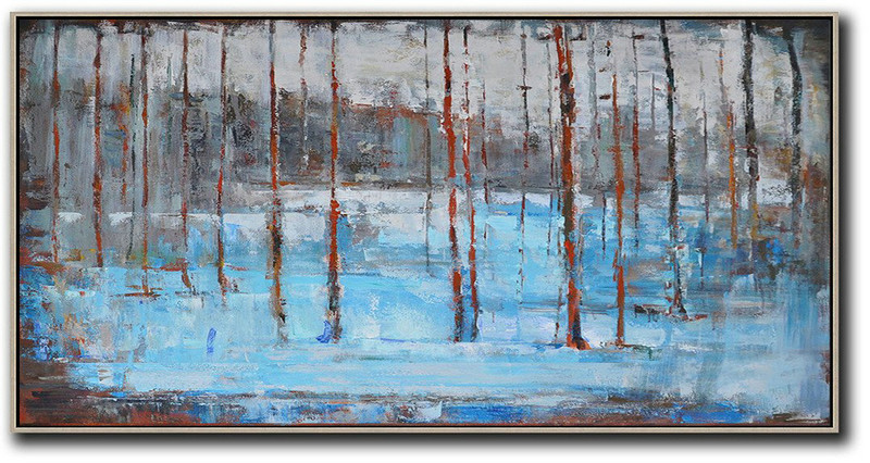 Panoramic Abstract Landscape Painting,Abstract Art Decor Large Canvas Painting White,Grey,Red,Blue