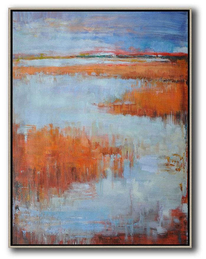 Abstract Landscape Painting,Abstract Oil Painting Blue,Orange,Purple Grey,Red