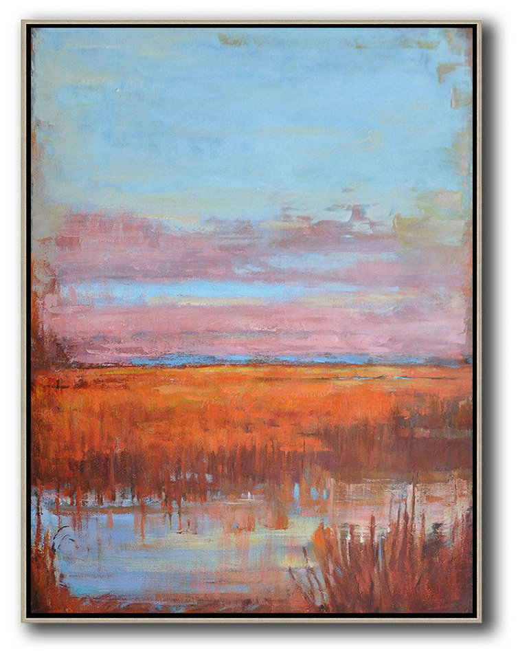 Abstract Landscape Painting,Modern Paintings Sky Blue,Pink,Orange,Red