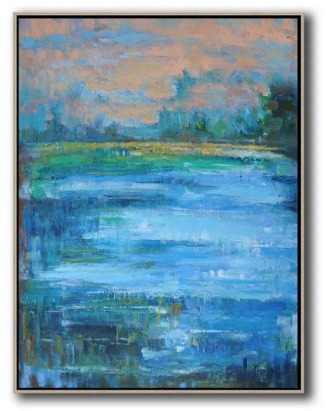 Abstract Landscape Painting,Hand Painted Original Art Earthy Yellow ,Blue,Green