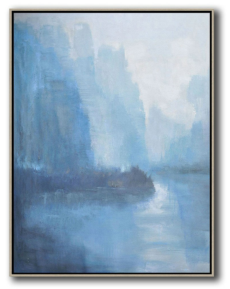 Abstract Landscape Painting,Custom Oil Painting White,Blue,Grey