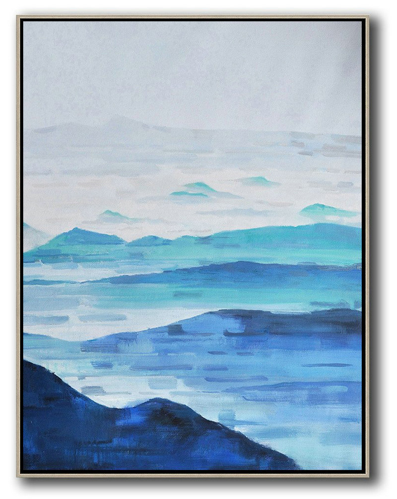 Abstract Landscape Painting,Abstract Artwork Online Grey,White,Blue