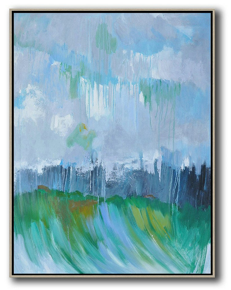 Abstract Landscape Painting,Abstract Painting For Home Sky Blue,Purple Grey,Dark Blue,Green