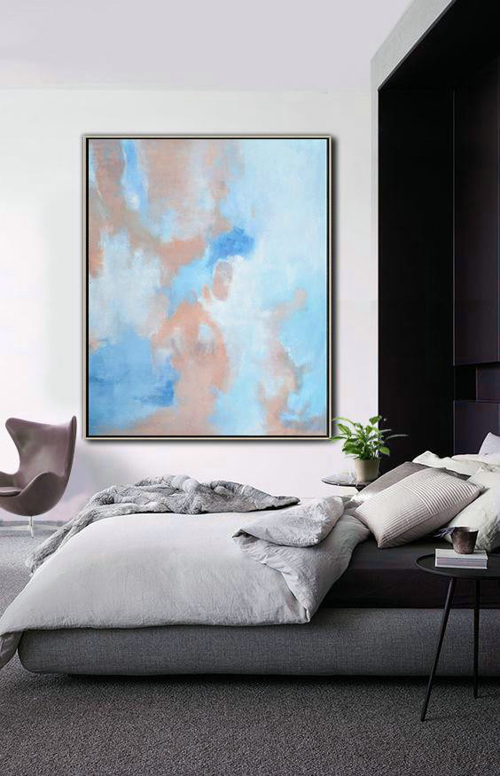 Abstract Landscape Painting,Contemporary Art Wall Decor Pink,Blue,White