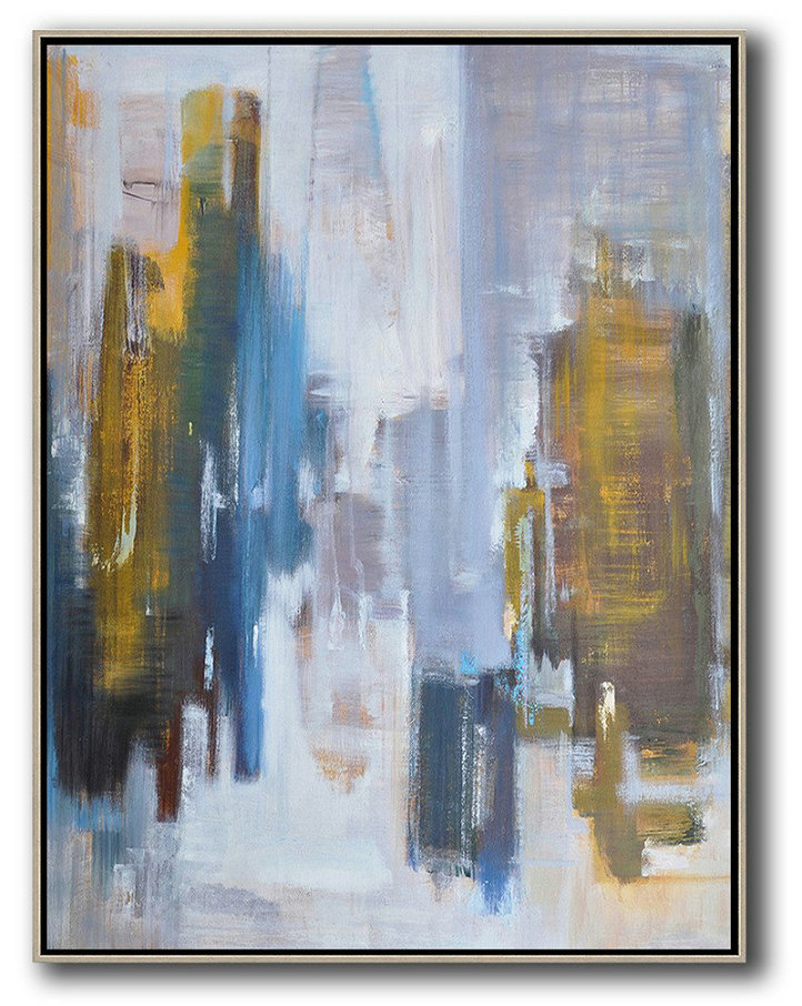 Abstract Landscape Painting,Canvas Wall Art Home Decor White,Purple Grey,Yellow,Blue