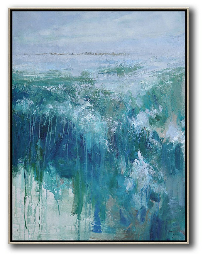 Abstract Landscape Painting,Huge Abstract Canvas Art Purple Grey,Lake Blue,Dark Blue,White