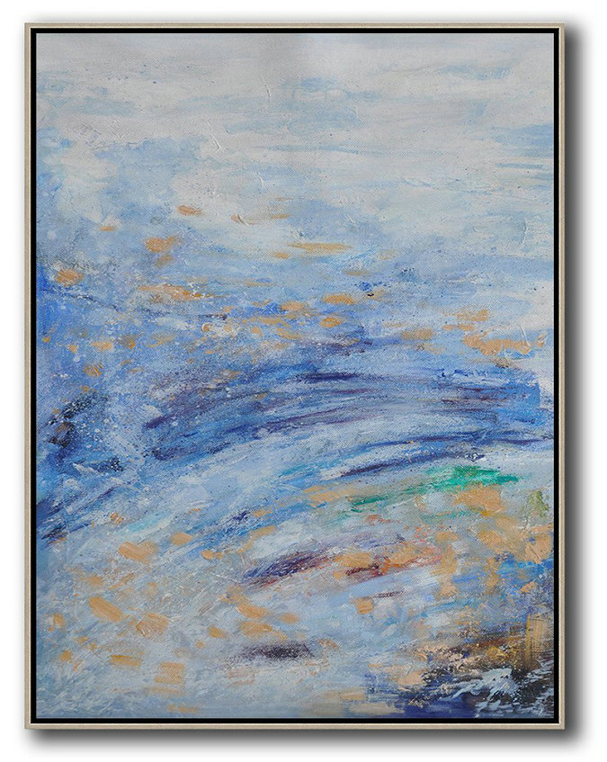 Abstract Landscape Painting,Big Painting Grey,Blue,Yellow