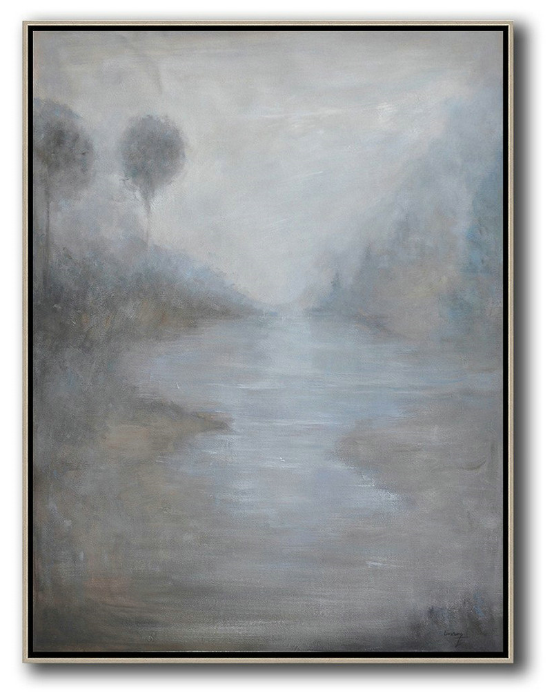 Abstract Landscape Painting,Large Contemporary Painting White,Grey,Black