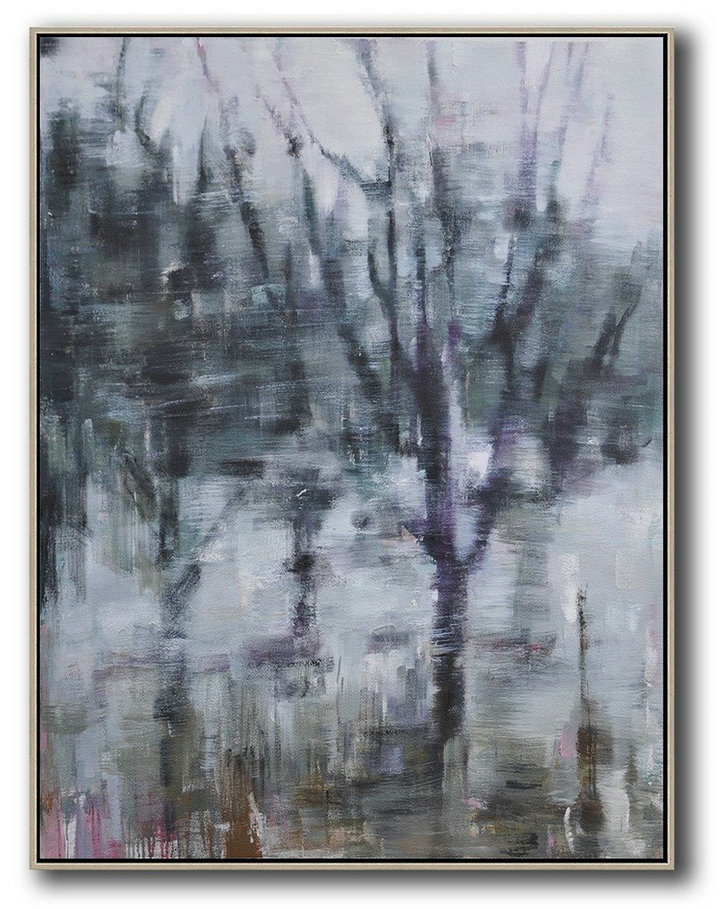 Abstract Landscape Painting,Hand Paint Abstract Painting White,Dark Green,Grey,Purple