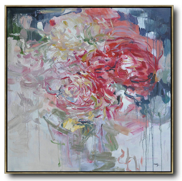 Abstract Flower Oil Painting Large Size Modern Wall Art,Large Abstract Wall Art #J0K9